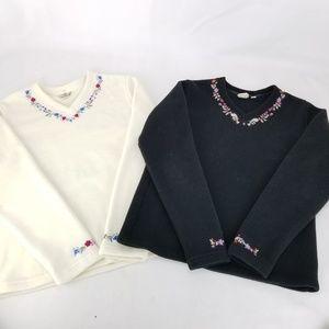 LL Bean Womens Small Reg. Fleece Sweatshirt V Neck